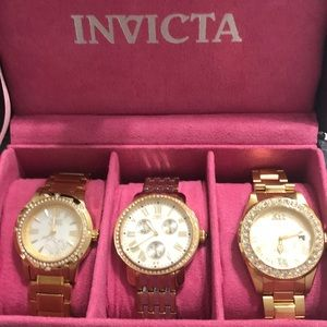 3 Gold Invicta Watches with Watch Case